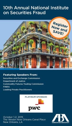 10th annual national institute on securities fraud